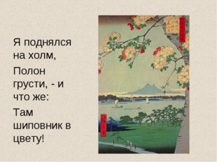 Я поднялся на холм, Полон грусти, - и что же: Там шиповник в цвету!