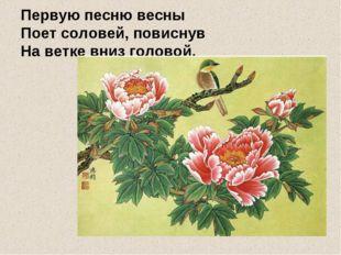 Первую песню весны Поет соловей, повиснув На ветке вниз головой.