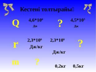Кестені толтырайық Q 4,6*106 Дж  ?4,5*105 Дж r2,3*106 Дж/кг 2,3*106 Дж/к