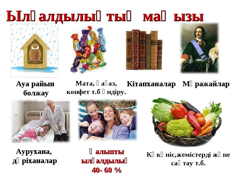 Ылғалдылықтың маңызы Ауа райын болжау Мата, қағаз, конфет т.б өндіру. Кітапха...