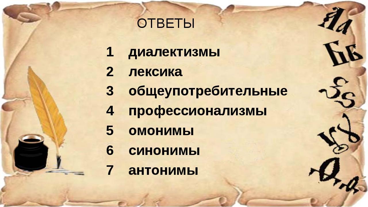 ОТВЕТЫ 1 диалектизмы 2 лексика 3 общеупотребительные 4 профессионализмы 5 омо...