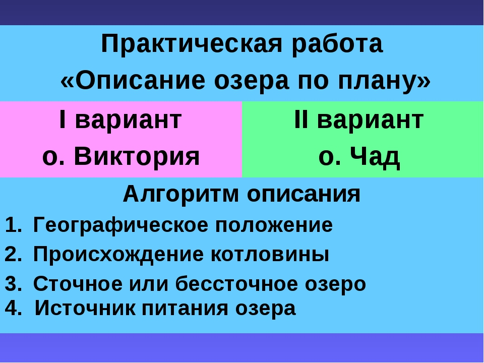 Практическая работа «Описание озера по плану» I вариант о. ВикторияII вариа...