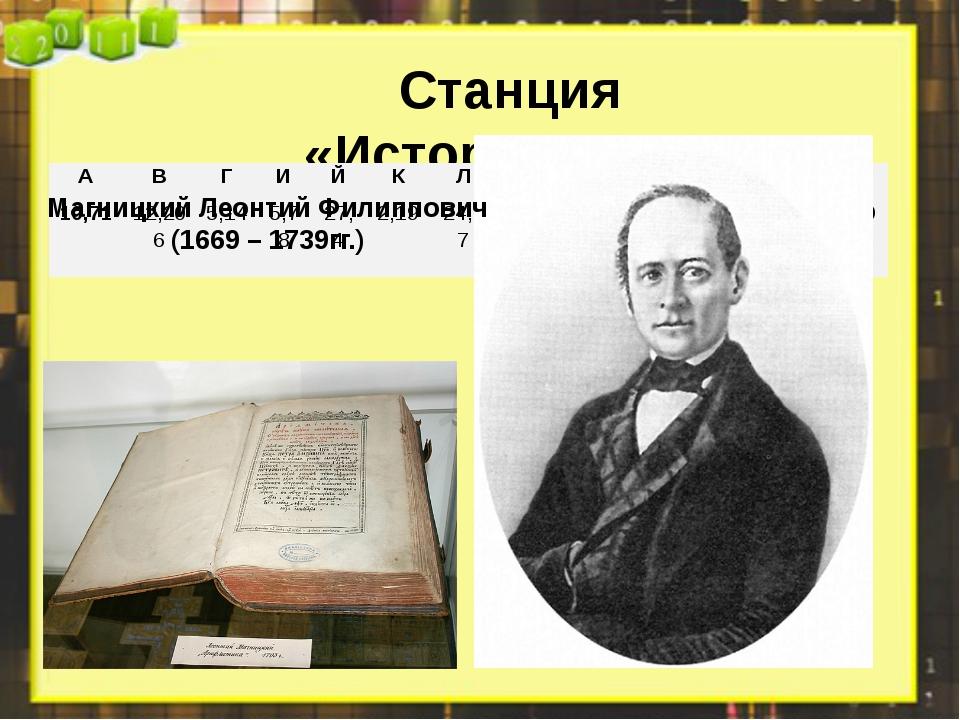 Станция «Историческая» Магницкий Леонтий Филиппович (1669 – 1739гг.) А В Г И...