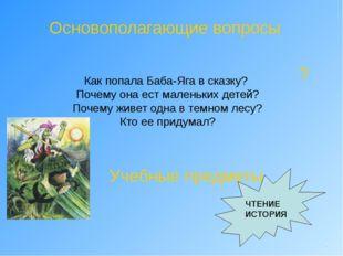 Основополагающие вопросы Как попала Баба-Яга в сказку? Почему она ест маленьк