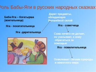 Роль Бабы-Яги в русских народных сказках Баба-Яга – богатырша (воительница) Я