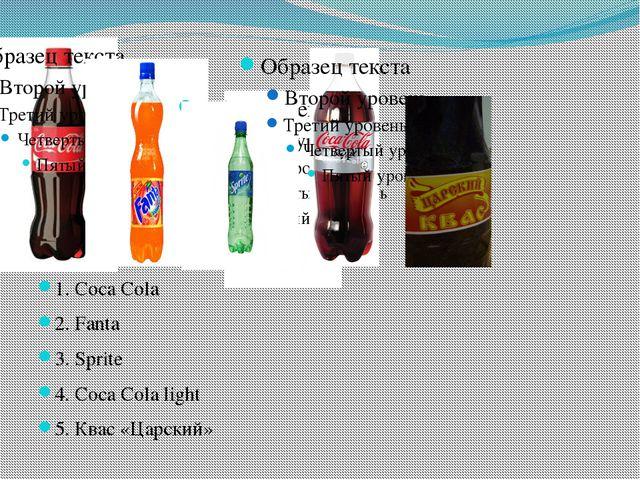 1. Coca Cola 2. Fanta 3. Sprite 4. Coca Cola light 5. Квас «Царский»