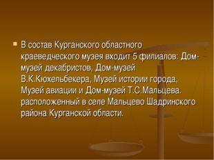 В состав Курганского областного краеведческого музея входит 5 филиалов: Дом-м