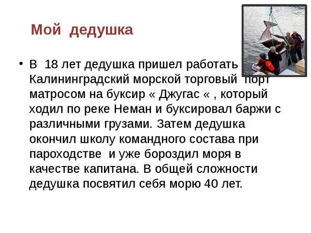 Мой дедушка В 18 лет дедушка пришел работать в Калининградский морской торгов...