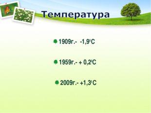 1909г.- -1,90 С 1959г.- + 0,20С 2009г.- +1,30 С
