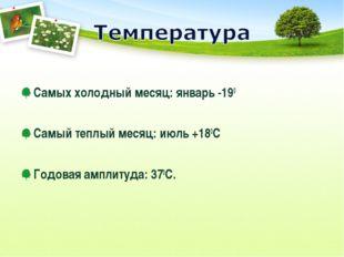 Самых холодный месяц: январь -190 Самый теплый месяц: июль +180С Годовая амп