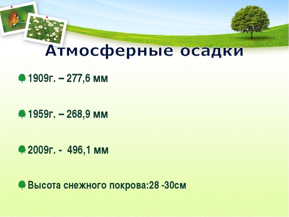 1909г. – 277,6 мм 1959г. – 268,9 мм 2009г. - 496,1 мм Высота снежного покров...