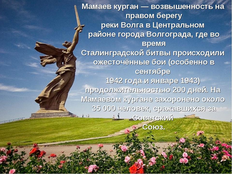 Мамаев курган— возвышенность на правом берегу рекиВолгавЦентральном район...