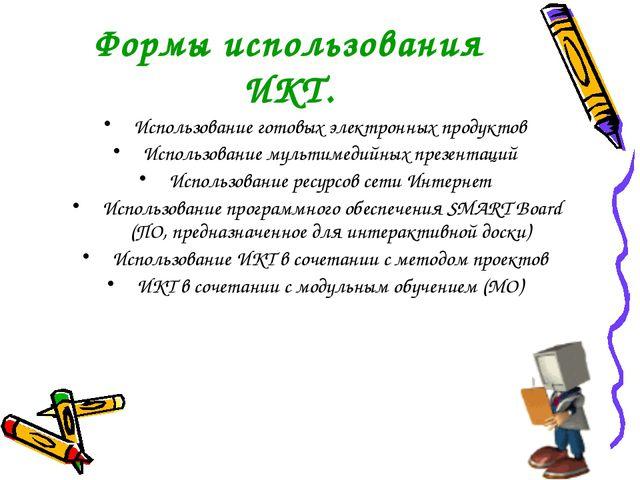Формы использования ИКТ. Использование готовых электронных продуктов Использо...