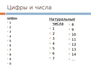 Цифры и числа Цифры 1 2 3 4 5 6 7 8 9 0 Натуральные числа 1 2 3 4 5 6 7 8 9 1
