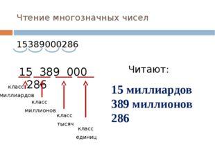 Чтение многозначных чисел 15389000286 15 389 000 286 класс миллиардов класс м