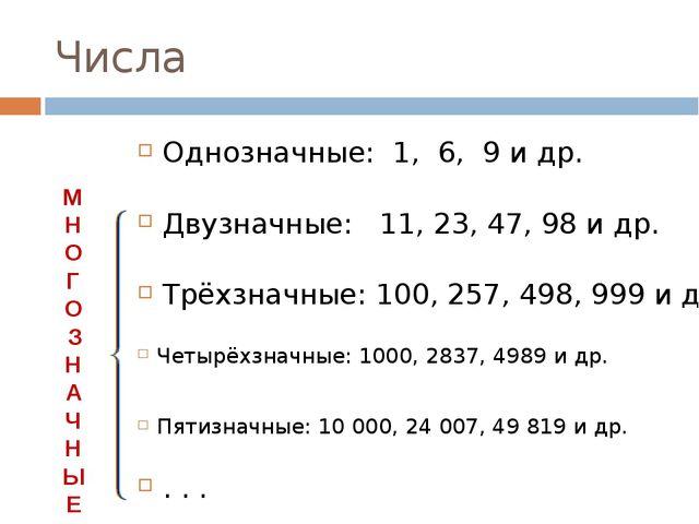 Числа Однозначные: 1, 6, 9 и др. Двузначные: 11, 23, 47, 98 и др. Трёхзначные...