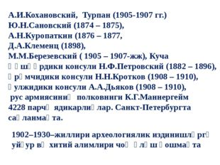 А.И.Кохановский, Турпан (1905-1907 гг.) Ю.Н.Сановский (1874 – 1875), А.Н.Кур