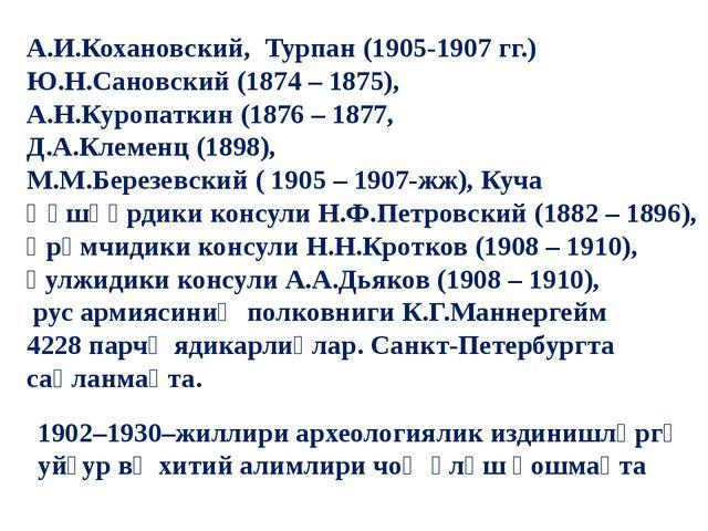 А.И.Кохановский, Турпан (1905-1907 гг.) Ю.Н.Сановский (1874 – 1875), А.Н.Кур...