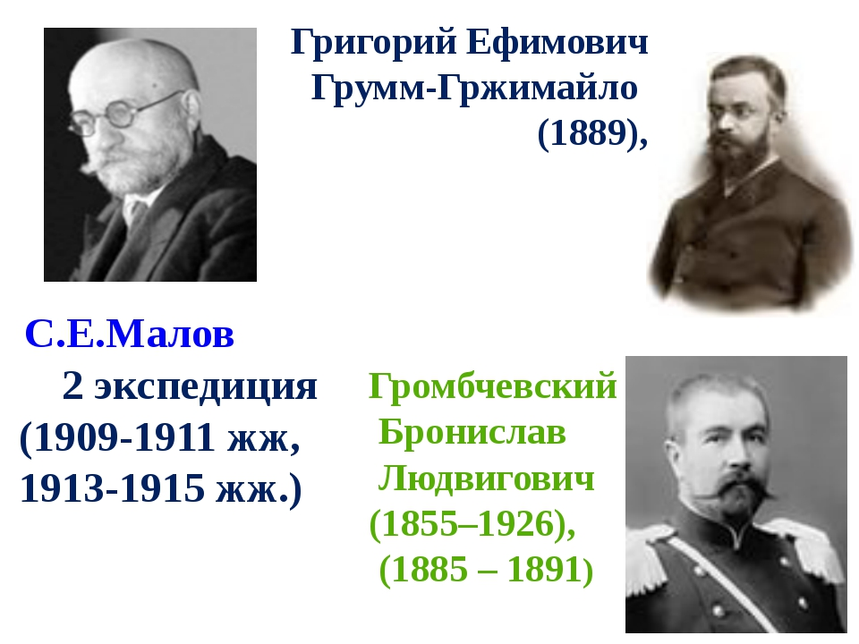 С.Е.Малов 2 экспедиция (1909-1911 жж, 1913-1915 жж.) Григорий Ефимович Грумм...