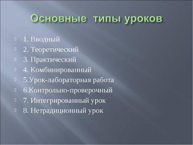 1. Вводный 2. Теоретический 3. Практический 4. Комбинированный 5.Урок-лаборат...