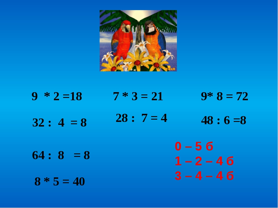 9 * 2 =18 32 : 4 = 8 7 * 3 = 21 28 : 7 = 4 9* 8 = 72 48 : 6 =8 64 : 8 = 8 8...