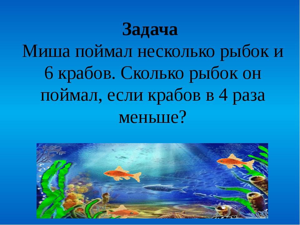 Задача Миша поймал несколько рыбок и 6 крабов. Сколько рыбок он поймал, если...