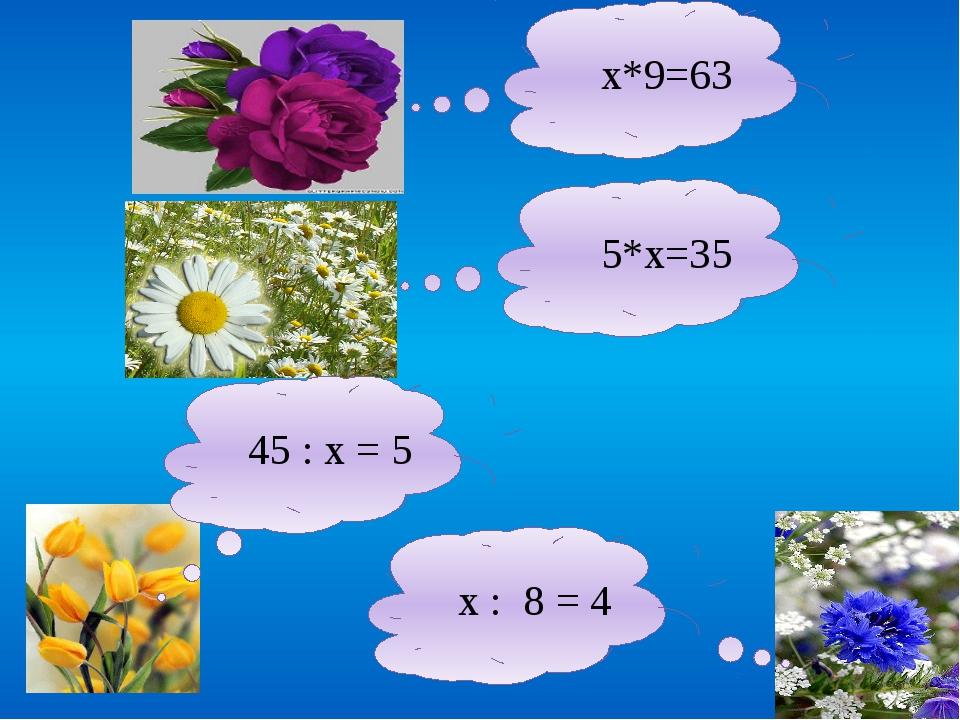 х*9=63 5*х=35 45 : х = 5 х : 8 = 4