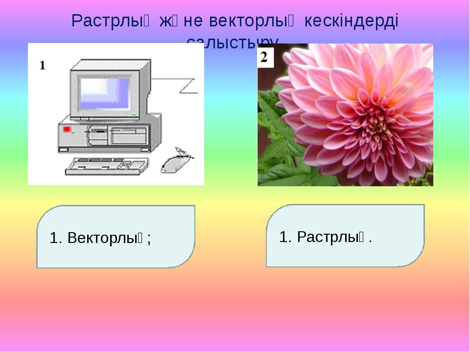 Растрлық және векторлық кескіндерді салыстыру. Векторлық; 1. Растрлық.