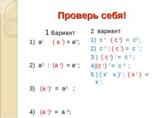Проверь себя!  1 Вариант 1) а3 . ( а 7) = а10 ; 2) а12 : (а 6) = а6 ; 3) (а