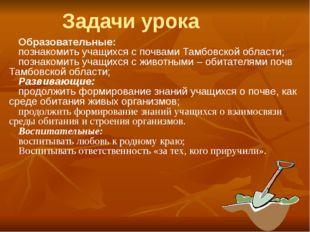 Образовательные: познакомить учащихся с почвами Тамбовской области; познакоми