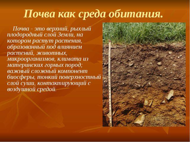 Почва как среда обитания. Почва - это верхний, рыхлый плодородный слой Земли,...