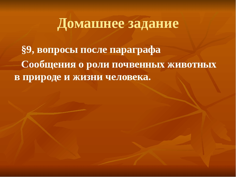 Домашнее задание §9, вопросы после параграфа Сообщения о роли почвенных живот...