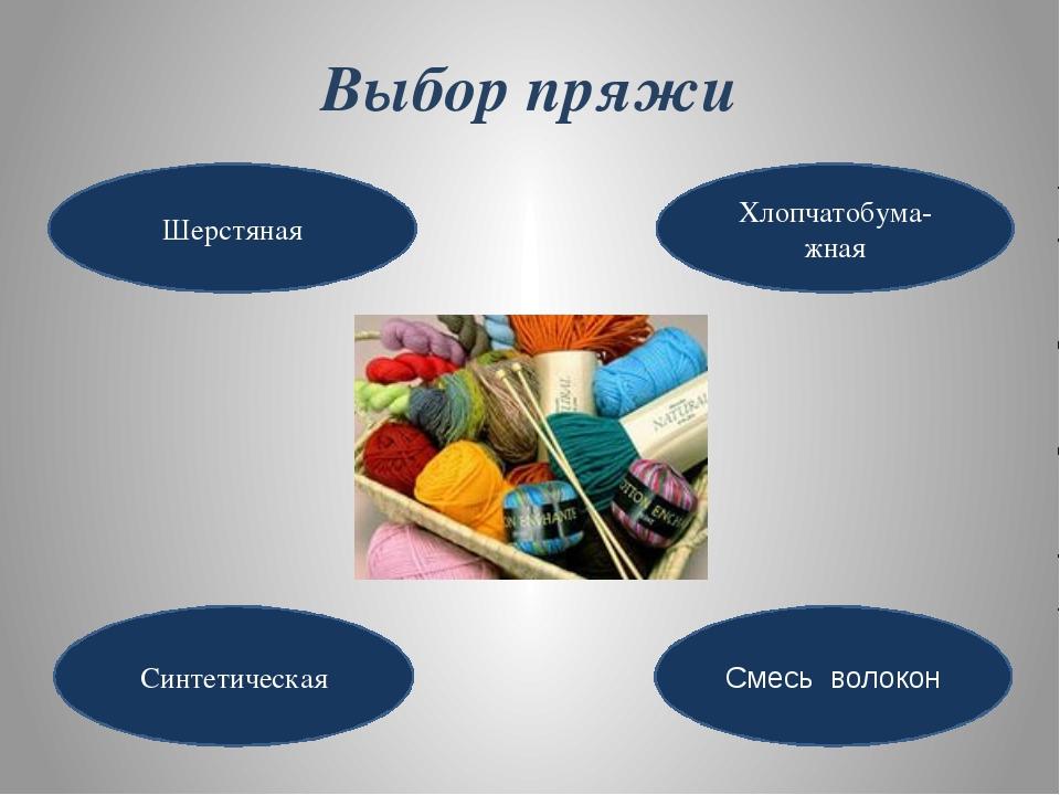 Выбор пряжи Шерстяная Хлопчатобума-жная Синтетическая Смесь волокон