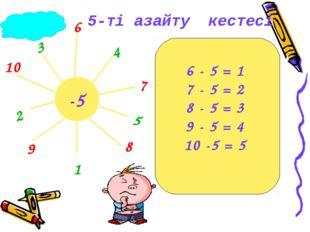 -5 1 2 3 4 5 6 7 8 9 10 6 - 5 = 1 7 - 5 = 2 8 - 5 = 3 9 - 5 = 4 10 -5 = 5 5-т