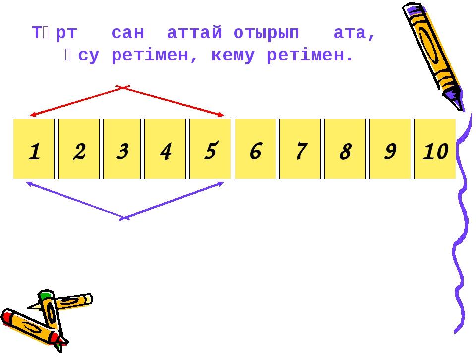 2 3 4 5 6 7 8 9 10 1 Төрт сан аттай отырып ата, өсу ретімен, кему ретімен.