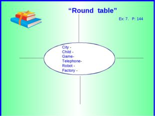 """""""Round table"""" Ex: 7. P: 144 City - Child - Game- Telephone- Robot - Factory -"""
