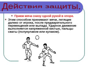 Прием мяча снизу одной рукой в опоре. Этим способом принимают мячи, летящие д
