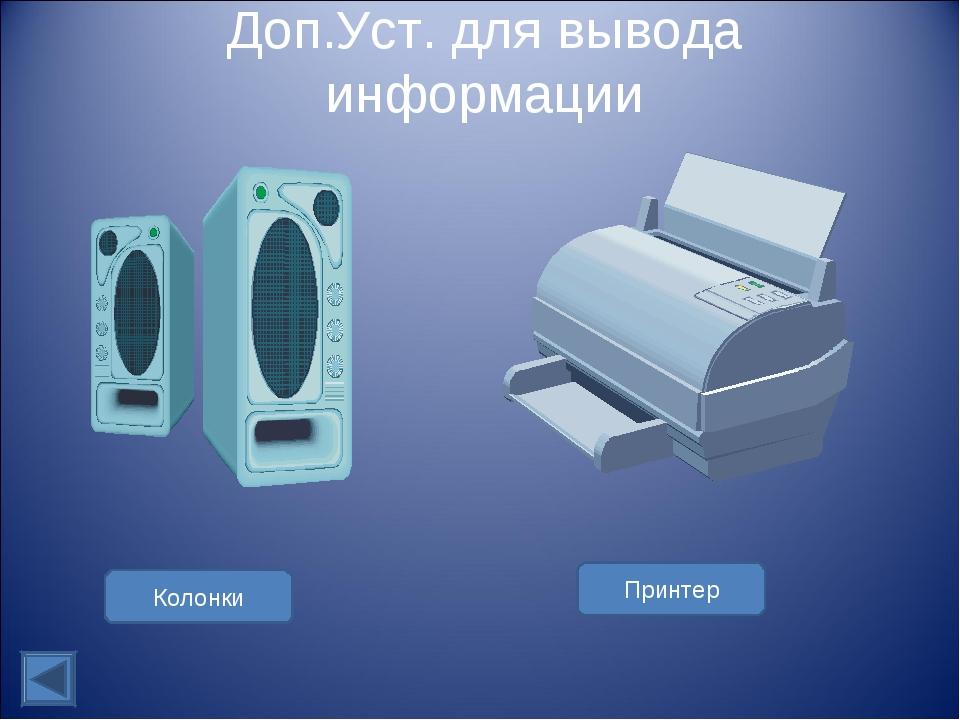 Доп.Уст. для вывода информации Колонки Принтер