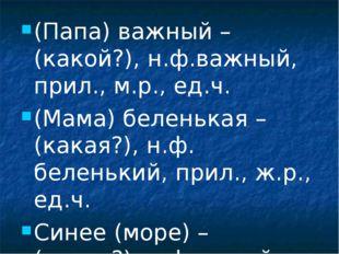 (Папа) важный – (какой?), н.ф.важный, прил., м.р., ед.ч. (Мама) беленькая – (