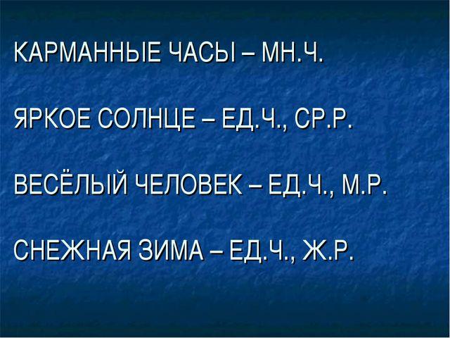 КАРМАННЫЕ ЧАСЫ – МН.Ч. ЯРКОЕ СОЛНЦЕ – ЕД.Ч., СР.Р. ВЕСЁЛЫЙ ЧЕЛОВЕК – ЕД.Ч., М...