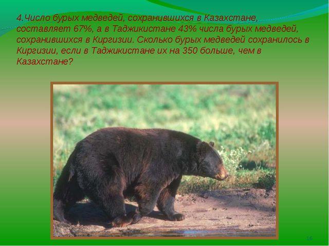 4.Число бурых медведей, сохранившихся в Казахстане, составляет 67%, а в Тадж...