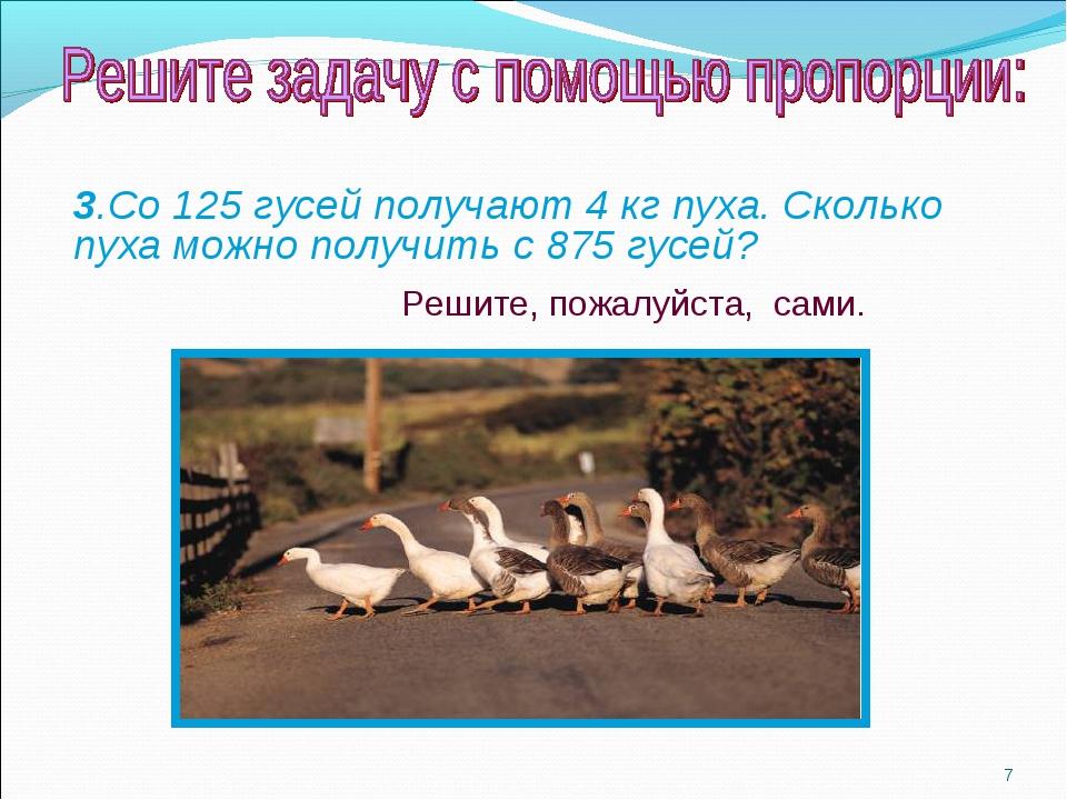 * 3.Со 125 гусей получают 4 кг пуха. Сколько пуха можно получить с 875 гусей?...