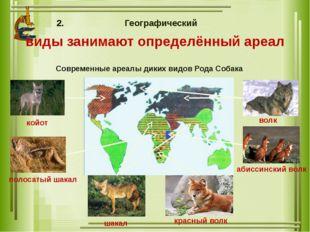 Географический виды занимают определённый ареал Современные ареалы диких видо