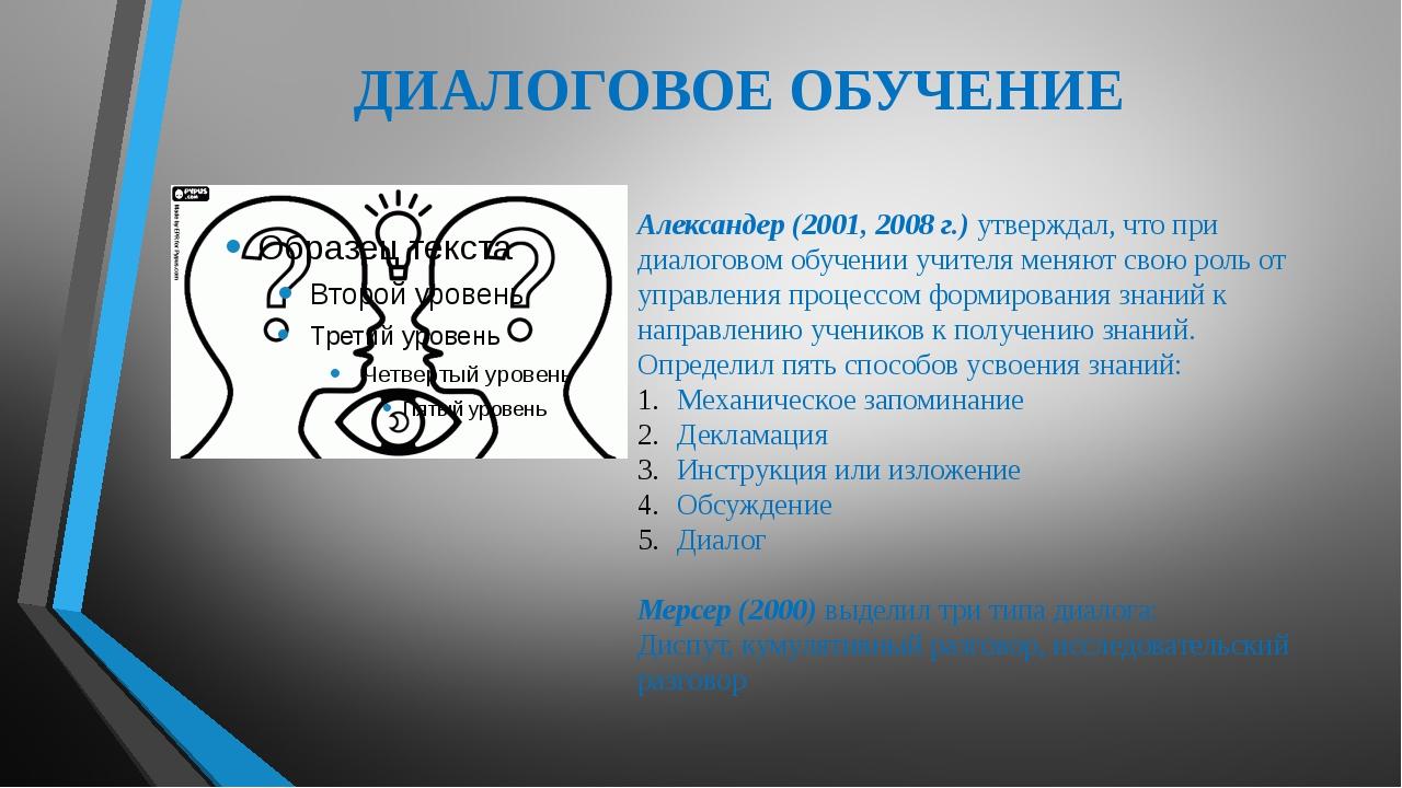 ДИАЛОГОВОЕ ОБУЧЕНИЕ Александер (2001, 2008 г.) утверждал, что при диалоговом...