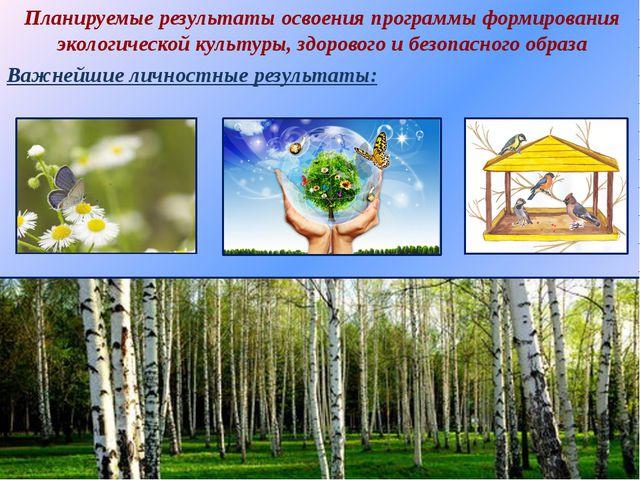 Планируемые результаты освоения программы формирования экологической культуры...