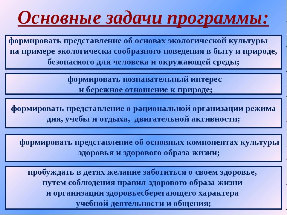 Основные задачи программы: формировать представление об основах экологической...