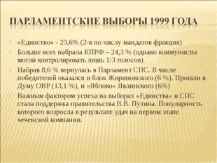 «Единство» - 23,6% (2-я по числу мандатов фракция) Больше всех набрала КПРФ –