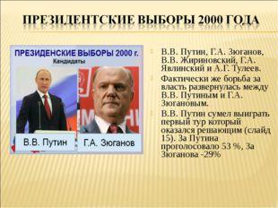 В.В. Путин, Г.А. Зюганов, В.В. Жириновский, Г.А. Явлинский и А.Г. Тулеев. Фак