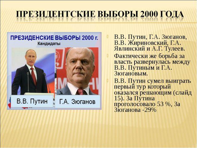 В.В. Путин, Г.А. Зюганов, В.В. Жириновский, Г.А. Явлинский и А.Г. Тулеев. Фак...