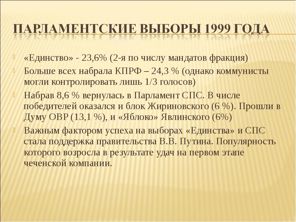 «Единство» - 23,6% (2-я по числу мандатов фракция) Больше всех набрала КПРФ –...